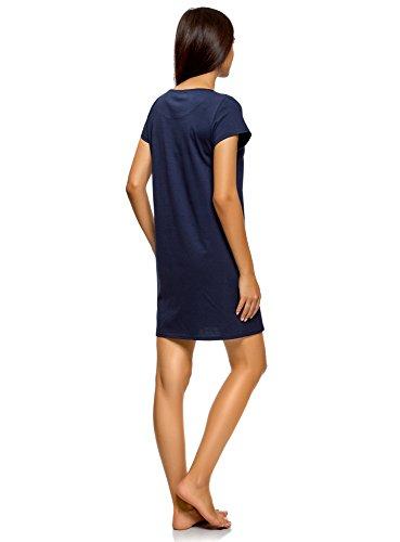 oodji Ultra Damen Baumwoll-Kleid mit Druck Blau (7919P)