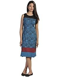 Damen-Sommer-Sleeveless Kleid mit Damast-Muster-Druck und Patch-Entwurf