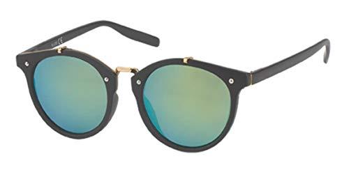 Sonnenbrille Panto Round 400 UV Steg hoch Metall Rahmen Innenseite Punkte türkis
