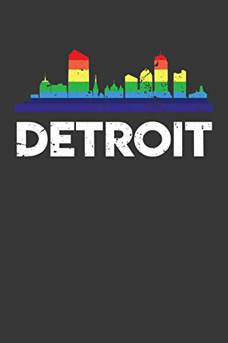 Detroit: Daily 100 page 6 x 9 journal Proud of your American City skylines, LGBT Flag Rainbow City Pride to jot down your ideas and notes