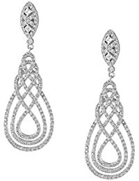 Shaze Silver Copper Infinite Weave Earrings for Women