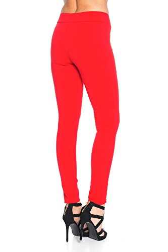 Jeggings Damenhosen mit Rundum Gummizug Basic Classic Jeggings A 26 Rot