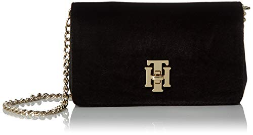 Tommy Hilfiger Th Lock Mini Crossover Vt, Sacs bandoulière femme, Noir (Black), 5.5x11x18 cm (W x H L)