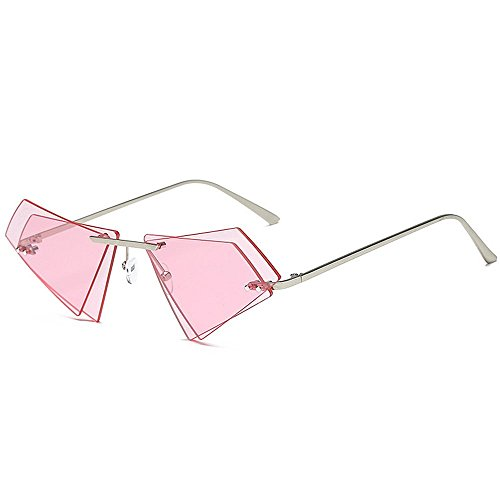 Yiph-Sunglass Sonnenbrillen Mode Frauensonnenbrillen Persönlichkeit Rahmenlos für unregelmäßige Doppellinse Unisex-Sonnenbrillen Damenbrillen UV-Schutz für das Autofahren (Farbe : Rosa)