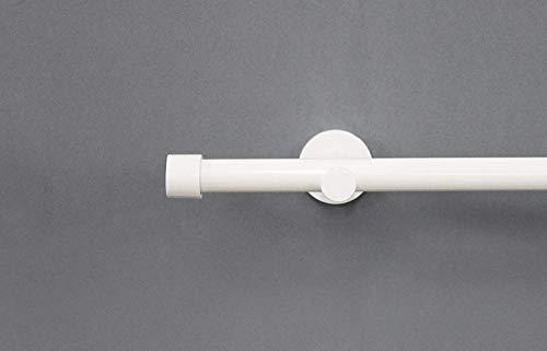 Rollmayer Moderne Gardinenstange aus Edelstahl Ø 19mm glänzend, Chrom/Weiß/Schwarz (160cm weiß Rohr, 1-läufig, mit Crux) Wandbefestigung einfache Montage Ohne Ringe!Schlafzimmer