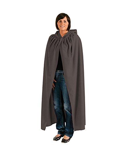 Grauer Umhang/Cape mit Kapuze für Erwachsene | Gr. M - Halloween-kostüme Hirsch Der Shop