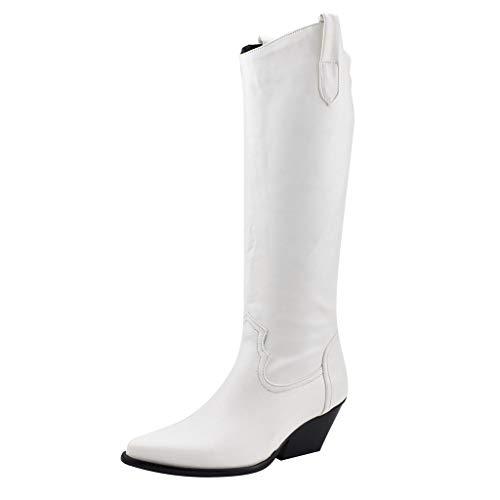 TTLOVE Damen Langschaft Stiefel PU Leder High Block Heel Kniehohe Stiefel Bequeme Stiefeletten Blockabsatz Cowboy Stiefel(Weiß,41 EU)