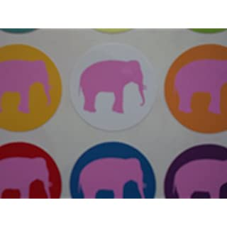 60 Pink Elephant Stickers - silhouette on different colours - great for party bags scrapbooks schools and nurseries