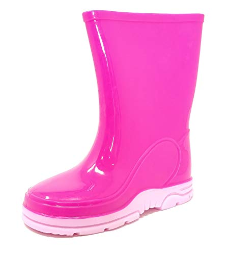 Childrens Kids Wellington Boots Rain Wellies Trendy Pink Girls Mid Calf Snow Boots Size 4-13