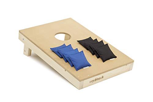 doloops Original Cornhole Spielset - EIN Cornhole Board und 8 Cornhole Bags (je 4 Schwarze und 4 Blaue Cornhole Bags), original Deutscher Cornhole Verband Turnierausstattung