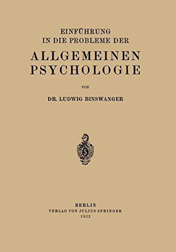 Einführung in die Probleme der Allgemeinen Psychologie