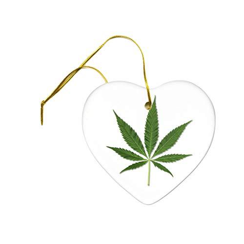 Tiukiu Beautiful Green Marijuana Pot Leaf Joint On A Heart Ceramic Hanging Ornament -