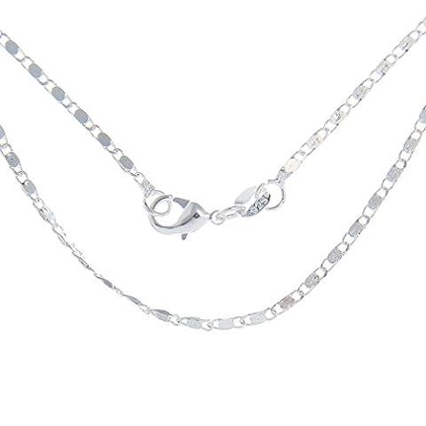 Smile YKK 2 Pcs Plated 925 Sterling Silver Unisex Bracelet Necklace Chain 24''