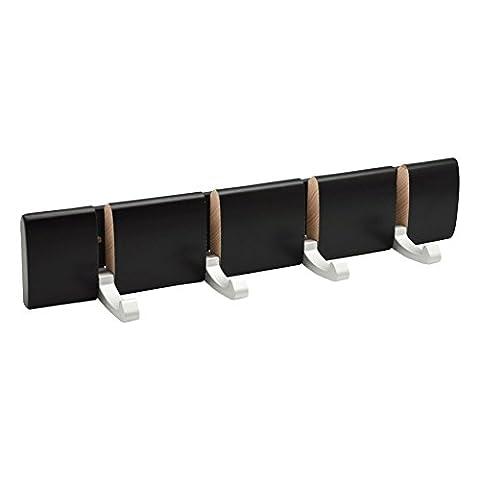 Harbour Housewares 4 Hook, Wall Mounted Coat Rack - Foldaway Metal Hooks - Black