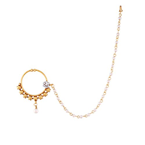 I Jewels Gold Plated Bridal Nose Ring with Chain For Women NL01  available at amazon for Rs.349