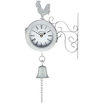 Wall Clock Grey Garden Decoration Belito Outdoor Hanging Station Clock