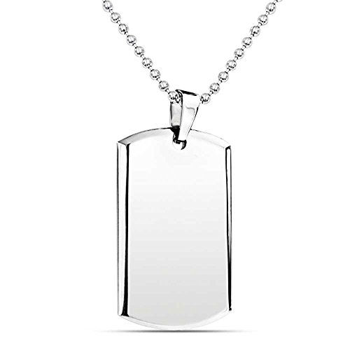 Bling Jewelry Engravable Beveled Edge Dog Tag Pendant Necklace for Men Polished Stainless Steel Bead Ball Chain 24 inch