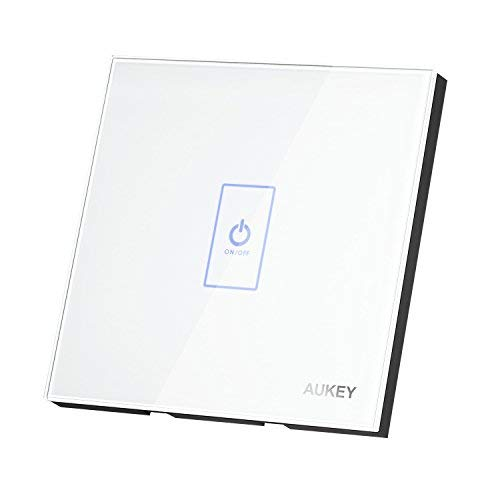 AUKEY Interruptor de Pared Táctil Interruptor de Luz Panel de Cristal Luz de Noche LED   Sensor Inductivo de Tacto Electrostática Cuerpo Europeo-Blanco