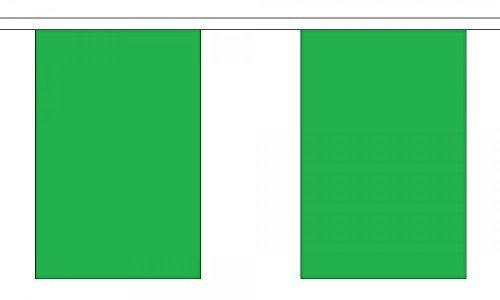 uni vert polyester Banderole DRAPEAUX 3M (10') BRUANT avec 10 DRAPEAUX