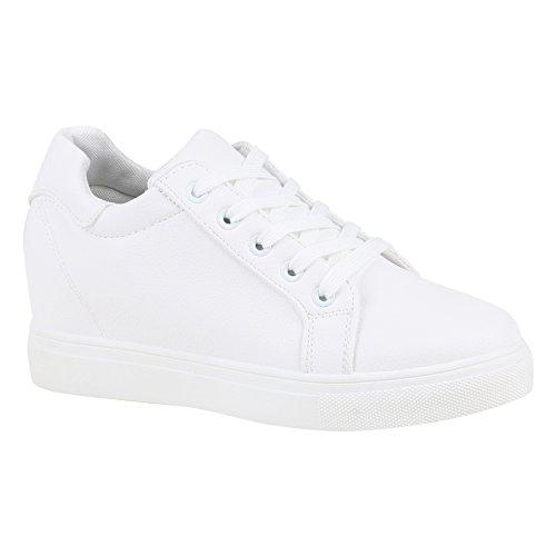Sneaker-Wedges Damen Schuhe Zipper Sneakers Turnschuhe Keil Absatz 155852 Weiss Weiss 37 | Flandell® (Street-sport-schuh)