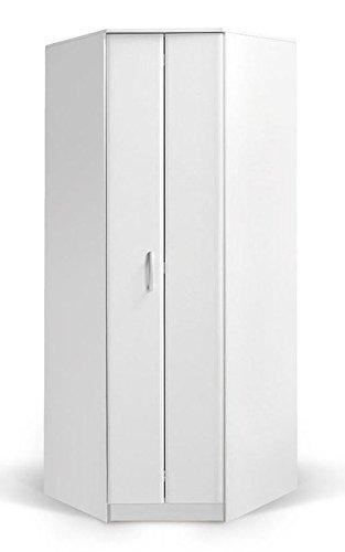 #Drehtürenschrank/Eckkleiderschrank Muros 06, Farbe: Weiß – 222 x 87 x 50 cm (H x B x T)#