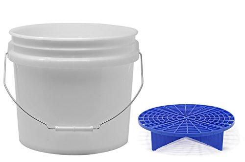 detailmate Set aus US Made Wash Bucket Wasch Eimer 3,5 Gallonen (12,5 Liter) transparent Grit Guard Eimer Einsatz blau -