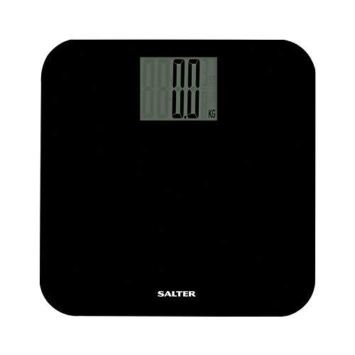 Salter 9049 BK3R Báscula de baño electrónica máxima, plataforma de cristal duradera, pantalla Maxi, 15 años de garantía, capacidad 250 kg