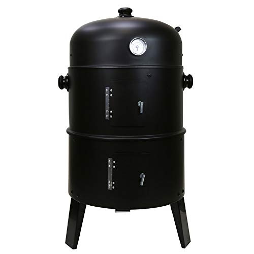 First4Spares 3 in 1 Round Charcoal BBQ Grill & Smoker Complete with Hangers and Thermostat