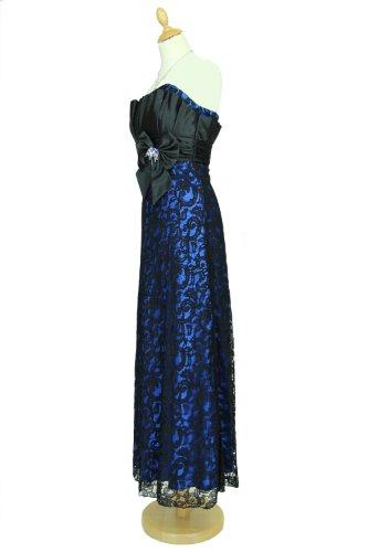 JuJu & Christine Langes Langes Star Satin Spitzen Abendkleid Ballkleid Michelle mit Träger vers. Farben Gr. 34 – 50 Blau