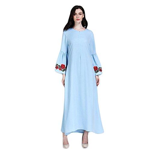 Muslimische Stickerei Langarm Kleid Tunika Abaya Dubai Kleider Damen Maxikleid Abendkleid Muslim...
