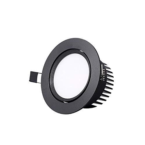 Mogicry American Embedded Downlight Schwarz Runde Deckenplatte Licht Energiesparende Dekoration Beleuchtung Deckenleuchte LED Anti-Fog Einbau-LED-Panel Licht Für Treppen Schlafzimmer Wohnzimmer -