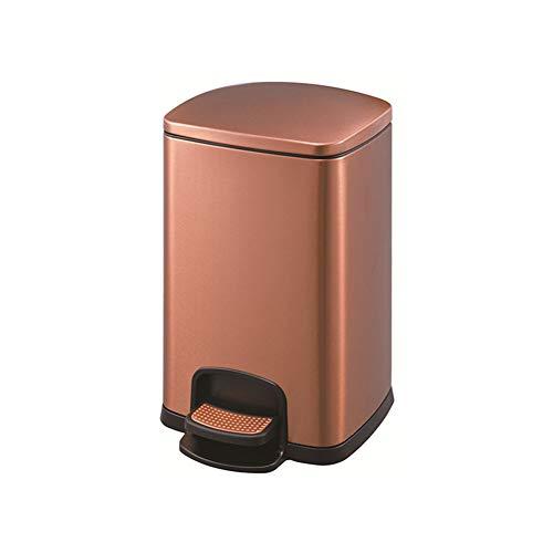 TJSCY Mülleimer in Pedalform, rechteckiger Aschenbecher aus Edelstahl, geeignet für Wohnzimmer, Küche, Schlafzimmer, Badezimmer, Schlafsaal für Hotels, Mehrfarbig, optional Rose Gold 8L 8 Liter Rose