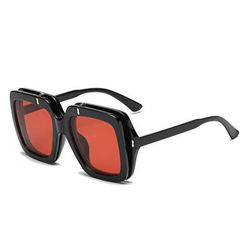 Wagonste - Flip Up-Raum-Objektiv-Frauen-Sonnenbrille Rerto Vintage-Maxi-Platz Sonnenbrillen Dame Brillen Brillen [rot]