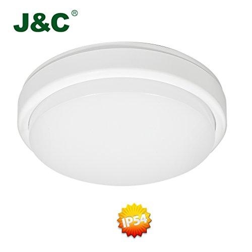 J&C® 12W IP54 850LM Ersetzt 110W LED Wannenlampe Deckenleuchte Badleuchte Warmweiß 2800-3200K RA>80 Maße Φ210*48MM aus PBT PC