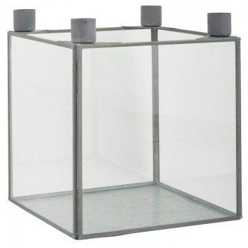 Ib Laursen Glasbox für 4 Kerzen Zink groß