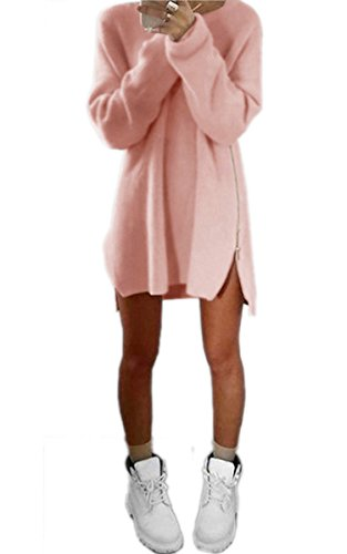 ECOWISH Pulli Sweatshirt Rundhals Pullover Damen Lose Hemd Shirt Schlitz Oberteil Tops (Crewneck Damen Kurzarm Pullover)