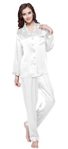 Lilysilk Elegant Pyjamas Set Nachtwaesche Seide Schlafanzug Damen Lang 22 Momme Weiß XL (Nachtwäsche Seide Schlaf-hose)