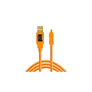 Tether Tools TetherPro USB 2.0 A/Mini-B 8 Pin USB Cable 15 inches ORG [TET-CU8015-ORG]