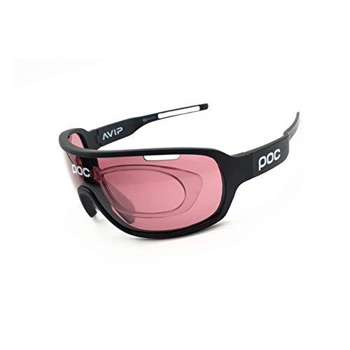 ZllSports Poc-Brille mit für Unisex Kommt mit Angeln Radfahren polarisierte Sonnenbrille Outdoor-Sport-Windschutzbrille Wechselobjektiv,Black