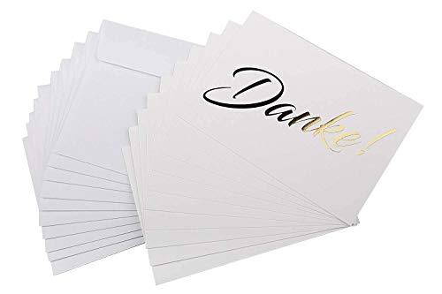 10 Karten inkl. 10 Umschlägen, goldene metallic Heißprägung, Danke sagen, Hochzeit, Geburt, Baby, Taufe, Geburtstag, Jubiläum ()