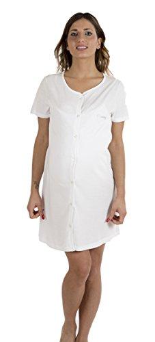 Premamy - camicia da notte premaman per gravidanza e allattamento - colore: bianco - taglia: m