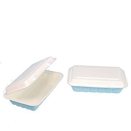240 Bio Snackboxen Bagasse Zuckerrohr Foodbox Doppel Burgerbox Klappbox Menübox weiß 239x156x63mm ca. 530ml