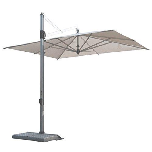Ecru Fliese (Fim Garda Retractable Sonnenschirm cm. 280x280 Rahmen Aluminium in anthrazitgrauem, Acryl Stoff Farbe Ecru mit Basis (Fliesen Nicht im Lieferumfang enthalten))