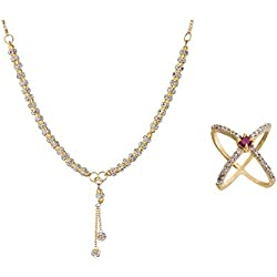 Zeneme AKSHAYA TRITIYA Speical Gift Collection of Fashionable American Diamond Mangalsutra & Rings Jewellery For Women (REd)