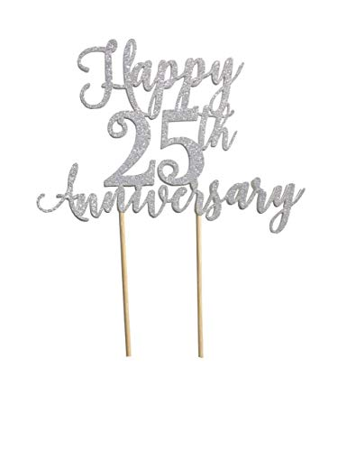 Happy 25Th Anniversary Wedding Cake Topper Gold Silver Black Party Decoration Glitter Cardstock Topper (Cake Black)