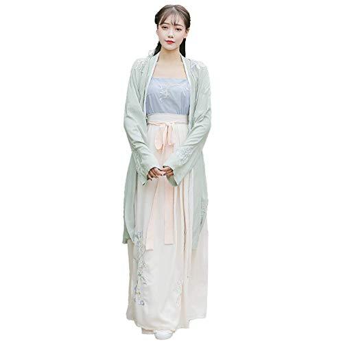 SusichouChinesischen Stil original antiken Stil Hanfu Cyan Bestickt Sling, Rock dreiteilige Nicht-historischen täglichen Set ()