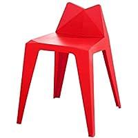 Uogrohhitu[jiptrtr Silla de Taburete Creativa Taburete de Mesa de Comedor de plástico Opcional Tamaño 46 * 44 * 64cm (Color : Red)