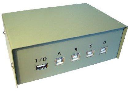 4-Port USB-Switch-Box - Aktie 1 USB-Gerät mit bis zu 4 PCs - Metallgehäuse (vollständig geschirmt) - heavy duty Drehschalter - Anti-Rutsch-Gummi-Füße für Desktop-Schutz