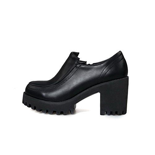 AllhqFashion Damen Reißverschluss Hoher Absatz Pu Rein Rund Zehe Pumps Schuhe Schwarz