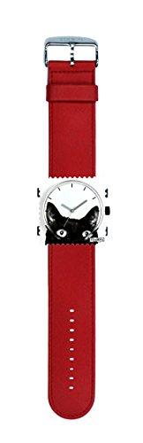 S.T.A.M.P.S. Stamps Uhr KOMPLETT - Zifferblatt Cat Woman mit Lederarmband classic rot
